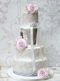 Metallic wedding cakes from Pretty Amazing Cakes