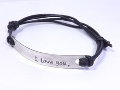 Sterling Silver and Leather Personalized  Hand Stamped Bracelet for Guys, Men, Fathers or Grandfathers by MissAshleyJewelry, $30.00