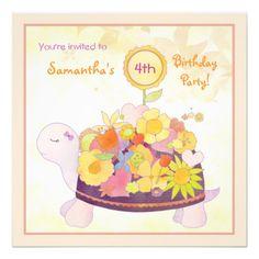 Flower Turtle Birthday Party Invitations