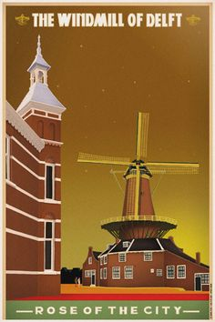 Travelposter of the city of Delft, the Netherlands - the Windmill nr. 2 -