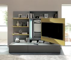The Smart Living Media System Is A New Concept On Space Saving Design The System Is Complete With A Television Dining Table Folding Chairs And Storage