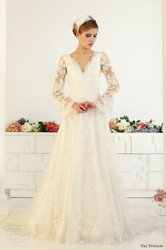 val stefani fall 2013 bridal long bell sleeves romantic lace wedding dress d8043 v neck