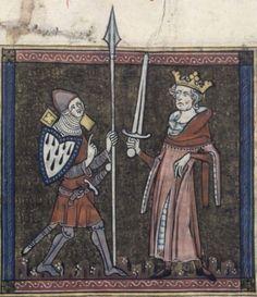 Beautiful rendition of a man at arms in the early 1300s speaking to a king. BNF Français 152 - Bible Historiale - Part 1, f. 213