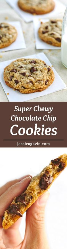 The BEST Chewy Chocolate Chip Cookies - soft center with crisp edges and brown butter for enhanced flavor, this a simple recipe for super CHEWY, THICK chocolate chip cookies!   jessicagavin.com