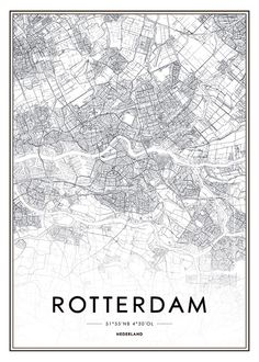 Print met Rotterdam plattegrond