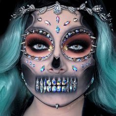 22 Rhinestone Skulls That Will Add Some Sparkle to Your Spook Skeletons are always a winner at Halloween but if youre a dedicated beauty junkie who loves the spooky season youve probably done regular skeletons before. Cute Halloween Makeup, Halloween Looks, Scary Halloween, Halloween Ideas, Halloween Halloween, Vintage Halloween, Halloween Costumes, Costume Makeup, Sfx Makeup