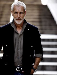 ♂ Men's fashion Masculine & elegance man with grey hair.. At Sugar Matchmaking-we can even school the men in fashion. Why shouldn't you both be walking in style?!