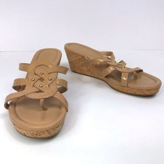 5e8a4320f895 My Cole Haan Beige Patent Leather Strappy Thong Sandal Slides Size 7.5 by  Cole Haan.