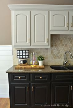 One Room Challenge Kitchen Makeover Reveal Love the two toned cabinets. e