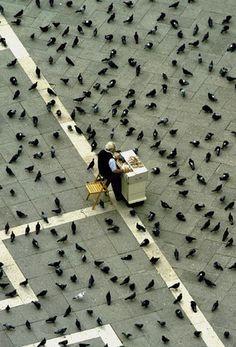 Bird food salesman in St. Marks Square in Venice, Italy