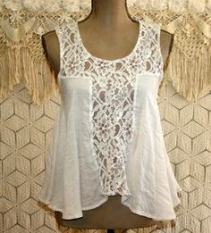 Sleeveless Hippie Boho Top Babydoll Beige Lace Shirt Small