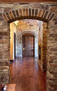 Custom House Plan Photos like the combo of wood, brick, and stone - Amazing Interior Design Custom Home Plans, Custom Homes, Future House, My House, House Plans With Photos, Brick And Stone, Stone Walls, Stone Work, Stone Houses