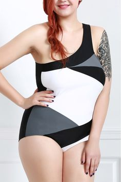 Sexy One-Shoulder Color Block One-Piece Swimsuit For Women in Black | Sammydress.com