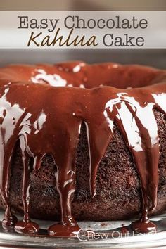 This Chocolate Kahlua Cake is quick 'n easy. Moist, chocolatey, and drizzled with ganache. It's the chocolate bundt cake you'll keep coming back to. Kahlua Recipes, Cake Recipes, Dessert Recipes, Pudding Desserts, Yummy Recipes, Chocolate Pudding Cake, Chocolate Desserts, Molten Chocolate, Chocolate Tarts