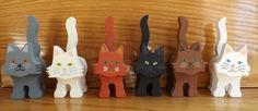 Wooden Cat Figurine - Solid Colors - Custom Made