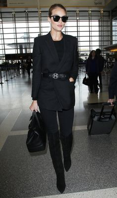 Celebrity-Inspired Outfits to Wear on a Plane - Rosie Huntington-Whiteley - from InStyle.com