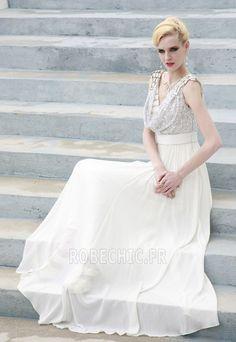 Robe de Soirée Capot Blanc A-ligne Perlé Corsage Avec Bijoux Sans Manches