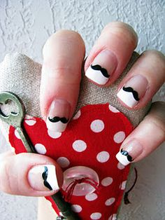 Mustache Nails~ must show this to kait! She has been all up in it with this mustache craze! Cute Nail Art, Cute Nails, Pretty Nails, Moustache Nails, Mustache, Hair And Nails, My Nails, Nail Decals, Creative Nails