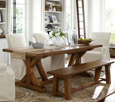 Wells Extending Dining Table | Pottery Barn--Love the bench and this table--dining room ideas
