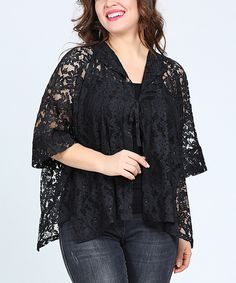 Take a look at this Black Lace Tie-Front Sidetail Cardigan - Plus today!