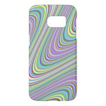 Colorful Funky Retro Abstract Zigzag Waves Pattern Samsung Galaxy S7 Case