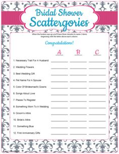 bridal shower scattegories bridal shower game printable bridal shower games free bridal shower