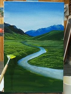 Canvas Painting Tutorials, Diy Canvas Art, Art Drawings Beautiful, Cool Art Drawings, Watercolor Art Lessons, Art Painting Gallery, Acrylic Art, Easy Landscape Paintings, River Painting