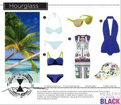 Beach wear & fashion looks for hourglass body type. Swimwear edition