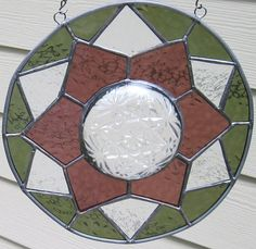 Stained Glass 3D Panel Geometric in Sage by CartersStainedGlass, $55.00