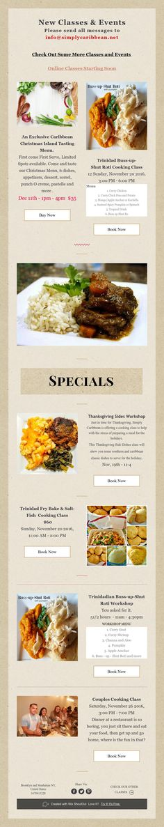 New Classes & Events  Please send all messages to info@simplycaribbean.net New Class, Cooking Classes, Events, Messages, Text Posts, Text Conversations