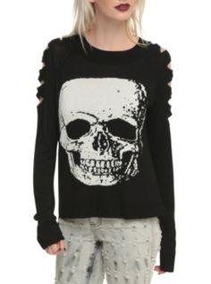 Jawbreaker Black Slashed Arm White Skull Sweater