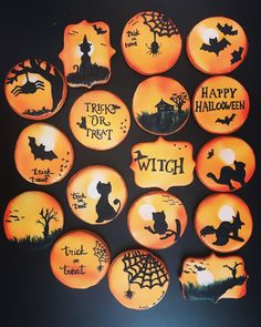"Cake and cookies by Gabriela on Instagram: ""Halloween cookies #cakesandcookiesbygabriela #halloweencookies #halloweenparty #cookiesindoha #doha #lifeinqatar"" Halloween Cookies, Halloween Party, Doha, Trick Or Treat, Cake, Instagram, Kuchen, Torte, Cookies"