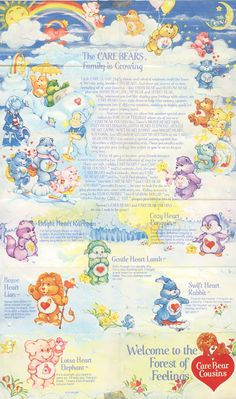 Photo: 1985 Care Bears mini poster featuring the original bears, Cousins, Hugs, Tugs Grams, Share, Champ & Secret, side 2