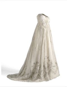 1800ish gown with silver embroidery.