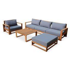 FINLANDEK - Salon de jardin 5 places avec angle mo   Salons