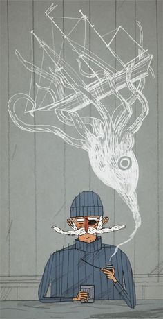 Joe Todd-Stanton. Cool drawing inspiration from the smoke to create a scene.