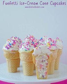 Funfetti Ice-Cream Cone Cupcakes