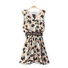 High End O Neck Sleeveless Print Sashes Chiffon Dresses(With Belt) graduation dress??