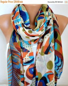 Cotton Scarf Soft Shawl Christmas Gift Summer Cowl by fatwoman