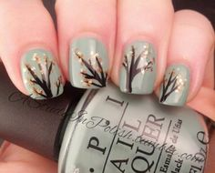 Autumn Trees Manicure by A Study in Polish