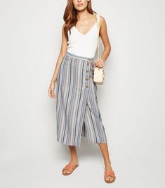84679348eb3 Pink Multi Stripe Linen Look Button Up Midi Skirt
