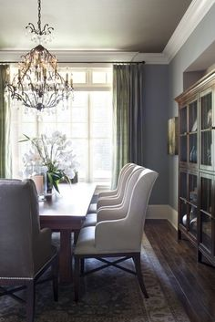 This color palette throughout the house... light blue/gray, neutral browns, creams, and sage.  So natural and calming!