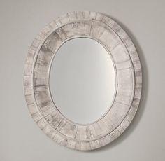 Salvaged Pieced Oval Mirror - White