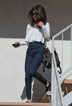 Selena Gomez.. American Apparel jeans, Chanel flats and Frye Jenny Backpack (Dark Brown Soft Vintage Leather)..... - Celebrity Fashion Trends