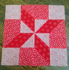 Vintage Pieced 16 inch Quilt Block  Red & by 4HollyLaneAntiques