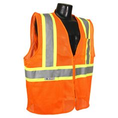 Radians Fire Retardant Hi Vis Orange Two Tone Vest Class 2 - - Hi Vis Safety Clothing Safety Clothing, Denim Cotton, Blue Denim, Contrast, Mesh, Stripes, Unisex, Orange, Fabric