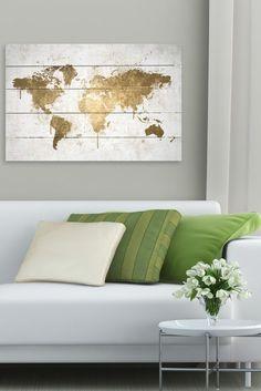 Mapamundi White Gold Wood Art