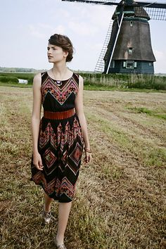 Patchworked Chevron Midi Dress - anthropologie.com