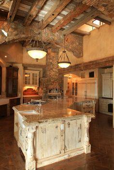 Boomerang shaped island, Tuscan style home, Scottsdale, Arizona