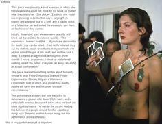 Performance art, Marina Abramovic, psychology, Milgram, Zimbardo, humanity